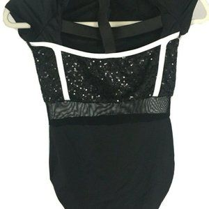 WEISSMAN dance costume girls size MC  Black White